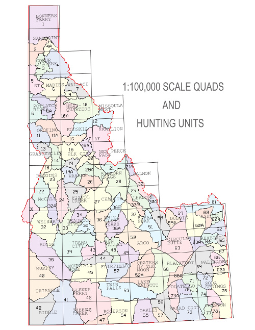 Idaho Hunting Unit Map Idaho: Quads Idaho Hunting Unit Map