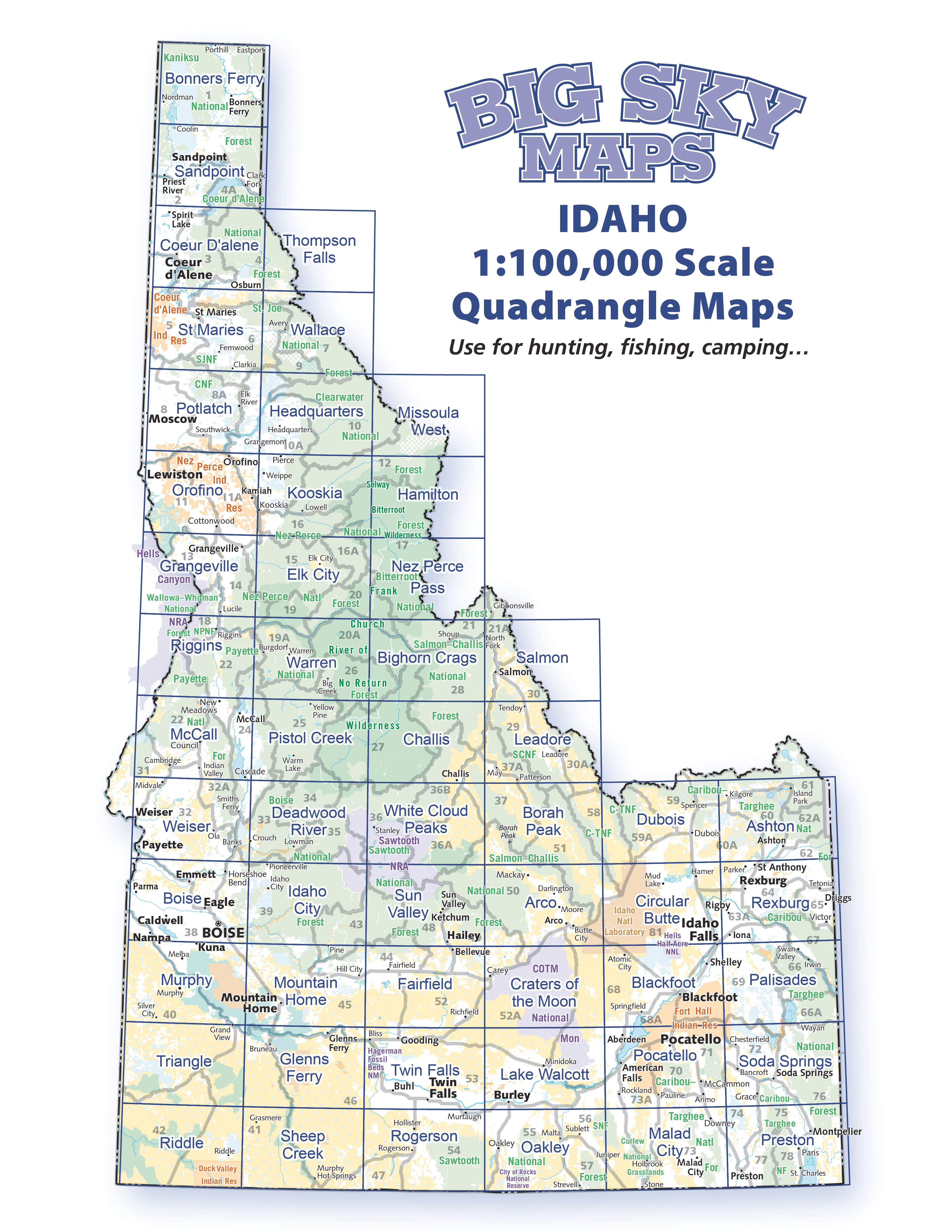 Idaho 1:100,000 Scale Quadrangles